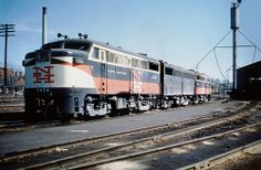 New Haven Railroad three unit set of two DER-2a ALCO FA-1's & one DER-2b ALCO FB-1, led by FA-1 0424, is seen at an unknown most likely New England yard location in the late 1950's, Mac Seabree Collection