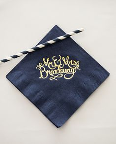 Custom wedding napkins - hand lettering calligraphy Mr & Mrs - gold foil on navy