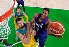 USA guard Kyle Lowry (7) shoots the ball against Australia center Andrew Bogut (6) during men's bask... - USA TODAY Sports