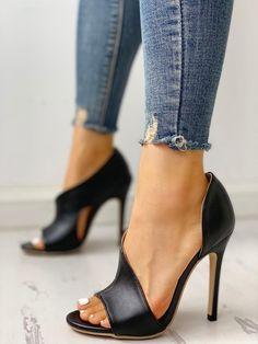 901382e4589 PU Cutout Peep Toe Thin Heeled Sandals Hot Heels, Μαύρα Τακούνια, Μόδα Για  Το