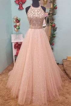 Elegant Tulle O neck Beaded Long Prom Dress Formal Evening Gowns  by fancygirldress, $152.10 USD Champagne Evening Dress, Sexy Evening Dress, Cheap Evening Dresses, Cheap Prom Dresses, Sexy Dresses, Evening Gowns, Party Dresses, Wedding Dresses, Dance Dresses