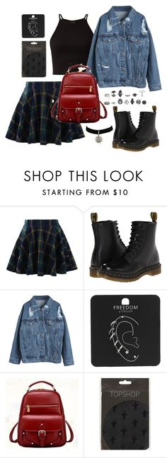 """Back to school Black Pink inspired // Lisa"" by berrie95 ❤ liked on Polyvore featuring Chicwish, Dr. Martens, WithChic, Topshop, BeiBaoBao, BackToSchool, lisa, BlackPink and kpopoutfits"