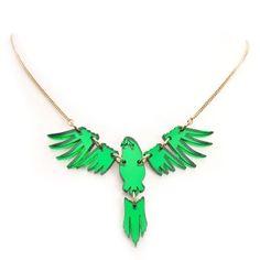 Parakeet necklace.