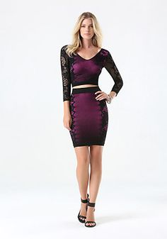 bebe Outline Lace Skirt