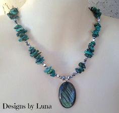 New Genuine Flashing Labradorite and Turquoise Gemstone Stone Pendant Necklace #Statement