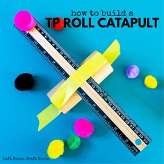 This Toilet Paper Roll Catapult is a fun STEM project for little kids or quick building sessions. Just raid your recycling bin and have fun! Popsicle Stick Crafts, Craft Stick Crafts, Craft Sticks, Alphabet Activities, Stem Activities, Learning Activities, Balloon Cars, Brain Craft, Stem For Kids