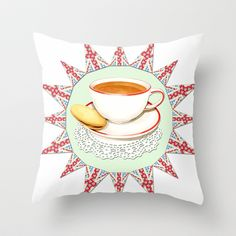 Fancy a Cuppa? Throw Pillow by Patricia Shea Designs - 20.00