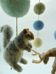 Woodland Animal Mobile, Baby Mobile, Gray Squirrel, Otter, Stag, blues, greens on Etsy, $180.00
