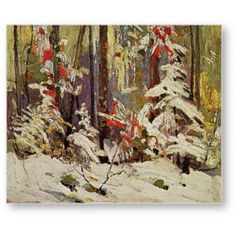 Quality print by Group Of Seven artist Tom Thomson - Wood Interior Winter; Available framed, giclee canvas. Made In Canada. Emily Carr, Canadian Painters, Canadian Artists, Abstract Landscape, Landscape Paintings, Impressionist Paintings, Acrylic Paintings, Oil Paintings, Impressionism