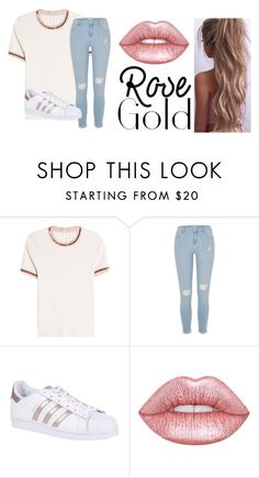 """""""rose gold basic"""" by hannah96635 ❤ liked on Polyvore featuring Carven, River Island, adidas Originals, Lime Crime, adidas, metallic and rosegold"""