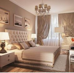 28 Stylish And Elegant Master Bedroom Ideas for Your Family ~ Home And Garden classic bedroom design ideas Luxury Bedroom Design, Home Interior Design, Room Interior, Bedroom Colors, Home Decor Bedroom, Bedroom Curtains, Bedroom Furniture, Taupe Bedroom, Garden Bedroom