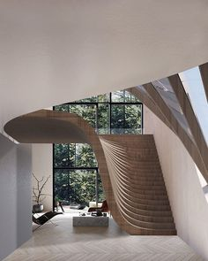 this swiss lake house by Wafai Architecture features a wall that gradually trans. : this swiss lake house by Wafai Architecture features a wall that gradually transforms into the roof. Dream Home Design, Modern House Design, Home Interior Design, Modern Stairs Design, Interior Garden, Interior Designing, Modern Bathroom Design, Life Design, Design Kitchen