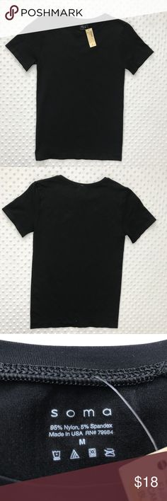 Soma Black Smooth Tee NWT Item: Soma Black Short Sleeve Smooth Knit Tee Top Nylon Spandex Slimming Seam Free  M Size: Medium Refer to measurements below for accurate fit! Measured flat:  14. 5       inches armpit to armpit 2. 5       inches armpit to the end of the sleeve 23       inches from collar seam to shirttail        Base Color:  Black  Fabric: Nylon, Spandex Soma Tops Tees - Short Sleeve