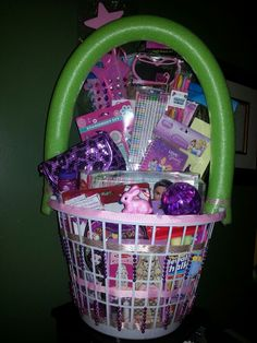 Easy Easter Baskets....Dollar Tree clothes basket and pool noodle. Get creative with the hot glue gun and ribbon, add some beads and decorations!