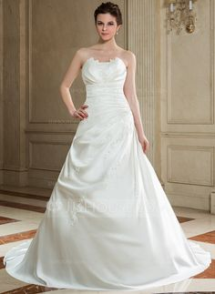A-Line/Princess Scalloped Neck Chapel Train Satin Wedding Dress With Ruffle Beading Sequins (002000605) - JJsHouse