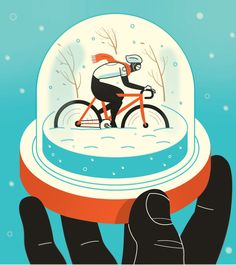 Harry Campbell illustration - Winter cycling