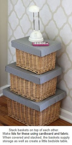 Cute Baskets Staked with  a home made lid