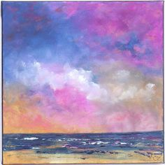 Original abstract landscape and seascape paintings for your home   Title: Cloud Curiosities/2  Here is a view of the ocean seen with colorful blue, pink and sunset yellow tones throughout the sky, the waves are midnight blue with magenta highlights. This painting was done with brush, and palette knife. A very serene seascape painting.  This is a 12x12 canvas done with acrylic paint. The sides are staple free, and painted a dark tone, so there is no need of framing unless desired, then…