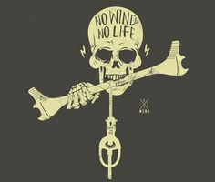 No Wind No Life | http://arnone-project.com Sweet t shirt from these guys ! Going in the want box ;) can't beat skulls and #kitesurfing