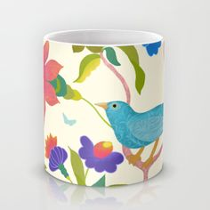 Jungle Bird Mug by Edith Jackson-Designs | Society6 - Digital creation of a 'Jungle Bird' among exotic flowers of some distant lost ecosystem.Pink and orange flowers, blue flowers on vines throughout the design. Turquoise textured bird. Yellow green leaves. Design on cream ground.This is a section taken from a painting to create this design. $15