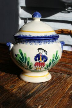 Hand Painted Pottery Pot with Lid French by FromParisToProvence, €22.00