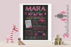 Chalkboard zum ersten Schultag - pink / rosa / lila
