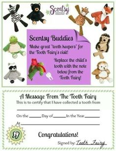 Scentsy ideas! Tooth fairy. Orders yours today at perfectscentsations.scentsy.us
