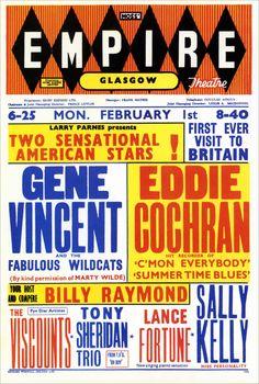Classic 1960 Concert Poster with Gene Vincent & Eddie Cochran (Glasgow, Scotland)