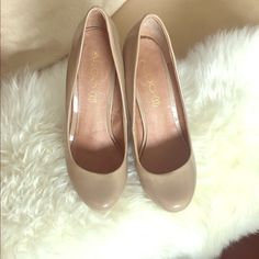 Nude wedge pump by Aldo. Classic design. Nude patent leather wedge pump. Never worn outside! ALDO Shoes Wedges