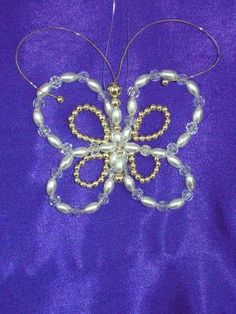 Pearl and AB Bead Butterfly Ornament