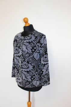 MARIMEKKO Gray Black Corduroy Blouse Abstract Print Corduroy Shirt Womens Cotton Shirt Long Sleeves Oversized Small to Medium Size  Tag size: S Marimekko, Abstract Print, Corduroy, Long Sleeve Shirts, High Neck Dress, Gray, Medium, Blouse, Sleeves