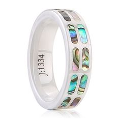 ceramic rings ceramic+shell alt Polished shiny - Tungstenjewellry.com