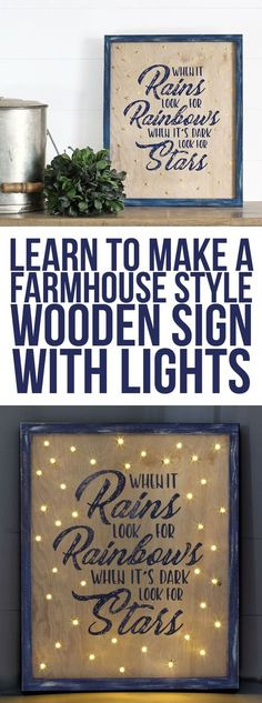 Make a pretty wooden farmhouse-style sign with twinkling lights and a free downloadable design. Silhouette Cameo projects | DIY Signs | Inspirational Quotes