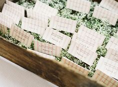 Blush and white striped escort cards