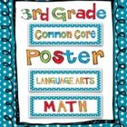 Common Core Standards for Third Grade - blue polka dots - 128 cards which  in can be displayed pocket charts