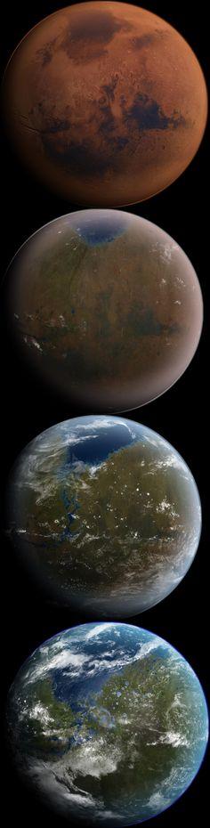 Terraforming Mars...see Kim Stanley Robinson's trilogy: Red Mars, Green Mars, Blue Mars