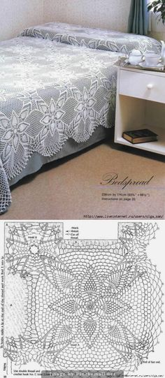 Lace bedspread square pineapple star ~~
