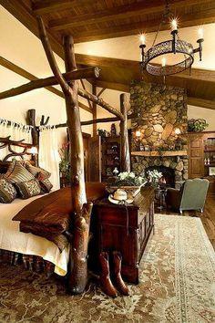 Rustic cabin bedroom log home bedroom, bedroom decor, dream bed Log Home Bedroom, Bedroom Ideas, Dream Bedroom, Bedroom Decor, Bedroom Country, Bedroom Fireplace, Bedroom Furniture, Cozy Fireplace, Cozy Bedroom