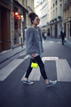 366c6d28e3 Step up your off-duty look in a grey fur jacket and black leather leggings