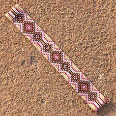 Garnets Gold and Diamonds Bead Loom Bracelet by PuebloAndCo