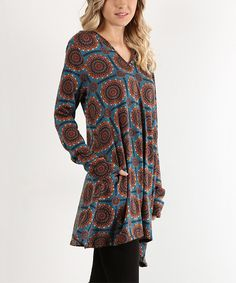 Loving this Teal & Orange Medallion Hooded Side-Tail Tunic on #zulily! #zulilyfinds