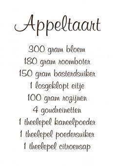 Muursticker+'Recept+appeltaart'