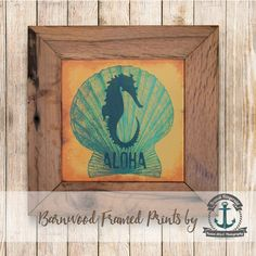 Aloha Seahorse Framed in Reclaimed Barnwood Beach House Decor Handmade... ($42) ❤ liked on Polyvore featuring home, home decor, wall art, grey, home & living, home décor, wall décor, handmade wall art, gray home decor and handmade home decor