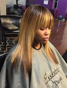 Medium Layered Straight Sew In With Bangs