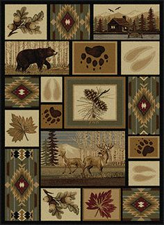 The Alpine Cabin Life Rug is an artful masterpiece of outdoor inspired design and rustic woodland flair.