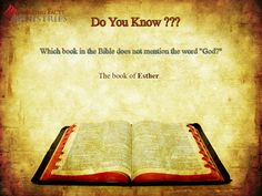 """Do You Know?  Which book of the Bible does not mention the word """"God""""?"""