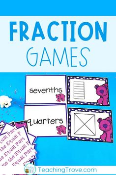 Fraction games are a fun way for your first grade, second grade and third grade students to consolidate their understanding of fractions. They can practice identifying equal and unequal parts, parts of a whole, making fractions and fraction names. Perfect for math centers and small groups. Great for homeschoolers too!#fractiongames#fractions