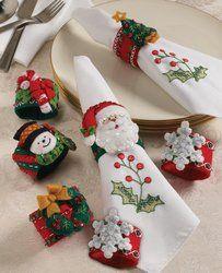 Bucilla 86262 Christmas Napkin Rings Felt Applique Kit