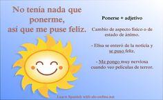 Verbos de cambio: Ponerse Spanish Lessons Online, Spanish Teacher, Learn Spanish, Feelings, Slip On