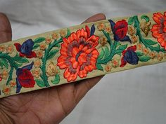 Inch wide Wholesale Orange Indian Lace Crafting Sari Border Embroidered Sewing Fabric Trim By 9 Yard Costume Decorative Crafting Ribbon Trims Trimming Grayish Blue Red Peach Orange and Gold Fashion tape trim Ribbon Crafts, Fabric Crafts, Sewing Crafts, Fashion Tape, Gold Fashion, Embroidery Saree, Ribbon Embroidery, Beaded Trim, Beaded Lace